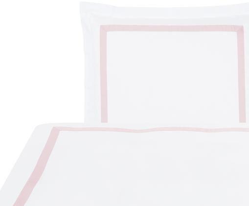 Baumwollsatin-Bettwäsche Nora in Weiß/Rosa, Weiß, Rosa, 135 x 200 cm