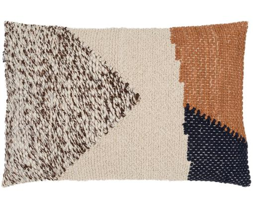 Handgemachtes Kissen Aztec im Boho Style, mit Inlett, Hülle: Baumwolle, Braun, Dunkelblau, Creme, 40 x 60 cm