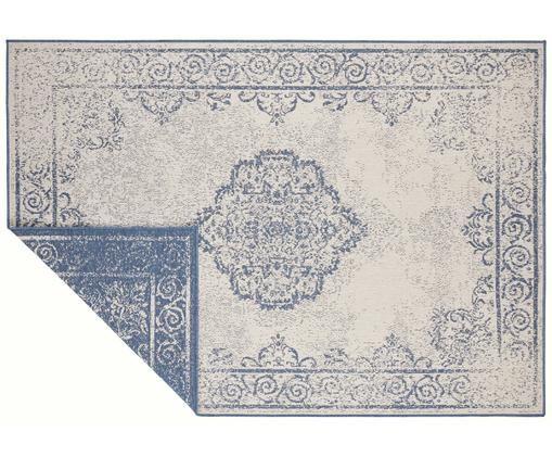 In- & Outdoor-Wendeteppich Cebu im Vintage Look, Blau/Creme, Polypropylen, Blau, Beige, B 80 x L 150 cm (Größe XS)