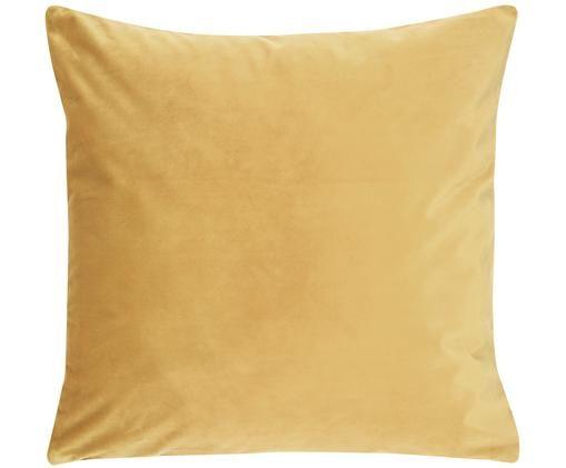 Poszewka na poduszkę z aksamitu Monet, 100% aksamit poliestrowy, Żółty, S 40 x D 40 cm
