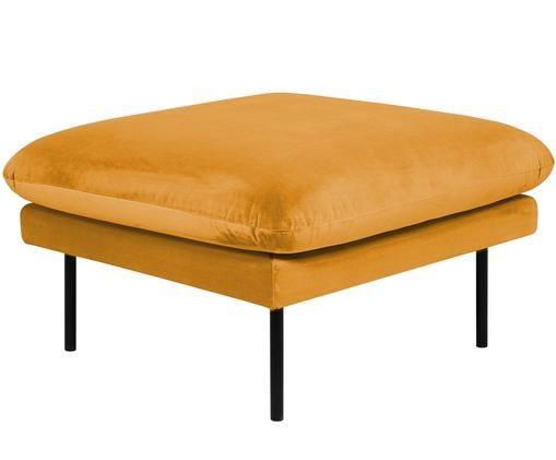 Puf z aksamitu Moby, Tapicerka: aksamit (wysokiej jakości, Stelaż: lite drewno sosnowe, Nogi: metal malowany proszkowo, Musztardowy, S 78 x W 48 cm