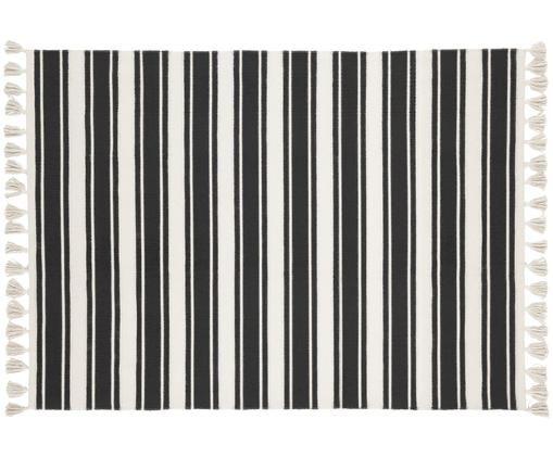Alfombra de algodón artesanal a rayas Vigga, Negro, beige, An 120 x L 180 cm