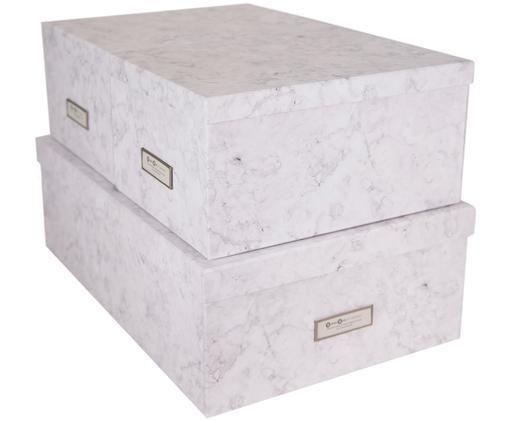 Set scatole portaoggetti Inge, 3 pz., Scatola: solido, cartone laminato, Bianco marmorizzato, Diverse dimensioni