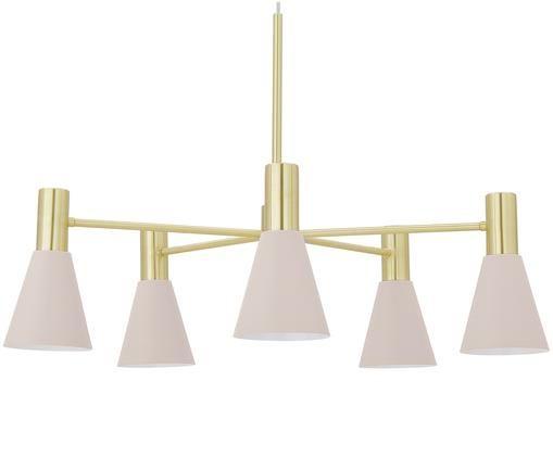 Lampa wisząca Sia, Klosz: blady różowy, matowy Osłona mocowania sufitowego i Stelaż lampy: mosiądz,, Ø 75 cm