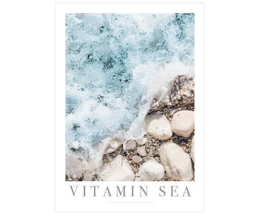 Poster Vitamin Sea, Stampa digitale su carta opaca  (180 g/m²), Tonalità blu, tonalità beige, bianco, grigio, Larg. 21 x Alt. 30 cm