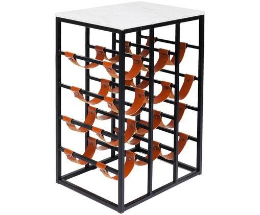 Weinregal Key West, Gestell: Metall, pulverbeschichtet, Ablagefläche: Marmor, Schwarz, Braun, Weiß, 43 x 65 cm