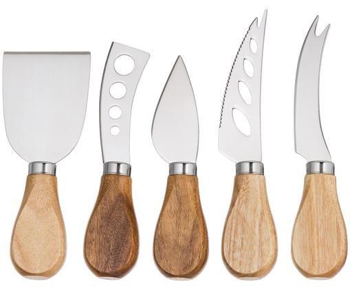 Sada stříbrných nožů na sýr z nerezové oceli Frija, 5 dílů, Akátové dřevo, nerezová ocel