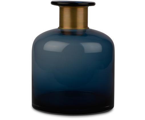 Wazon Smokey, Szkło, Wazon: niebieski, transparentny Dekoracja: mosiądz, W 23 cm