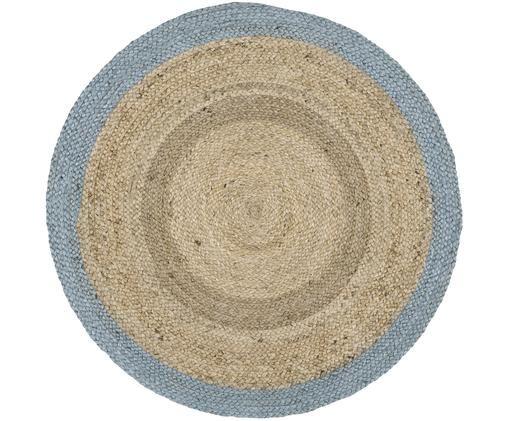 Okrągły, ręcznie tkany dywan z juty Shanta, Beżowy, szaroniebieski, Ø 100 cm