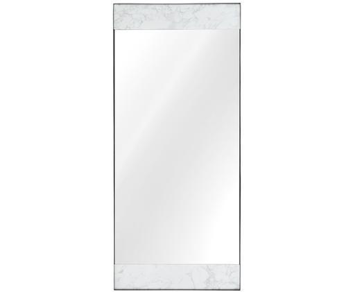 Anlehnspiegel Kopenhagen, Rahmen: Melamin, Metall, Spiegelfläche: Spiegelglas, Rückseite: Mitteldichte Holzfaserpla, Weiß marmoriert, Schwarz, 75 x 176 cm