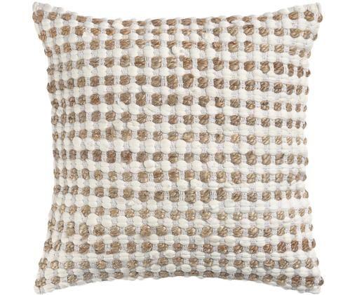 Poszewka na poduszkę Fiesta, 55% bawełna, 45% juta, Biały, beżowy, S 45 x D 45 cm