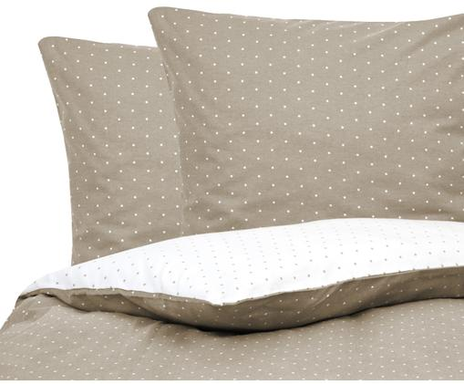 Flanell-Wendebettwäsche Betty, gepunktet, Baumwolle, Flannell, Beige, Weiß, 200 x 200 cm
