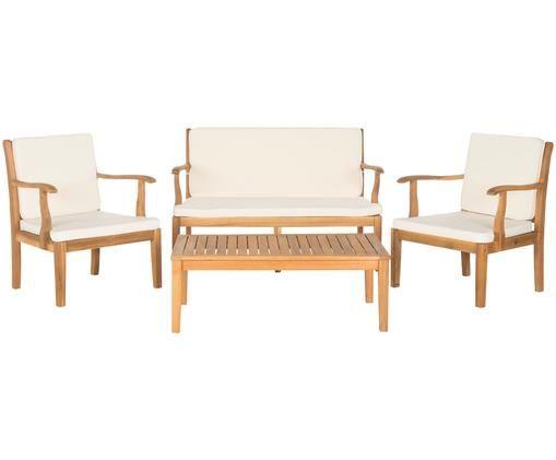 Gartensitzgruppe Lugano, 4-tlg., Bezug: 100 % Polyester, Akazienholz, Ecru, Sondergrößen