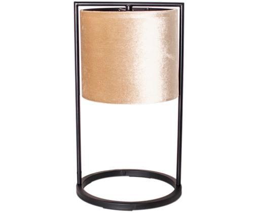 Lampa stołowa z aksamitu Vieste, Aksamit, mosiądz malowany proszkowo, Beżowy, czarny, Ø 25 x W 45 cm