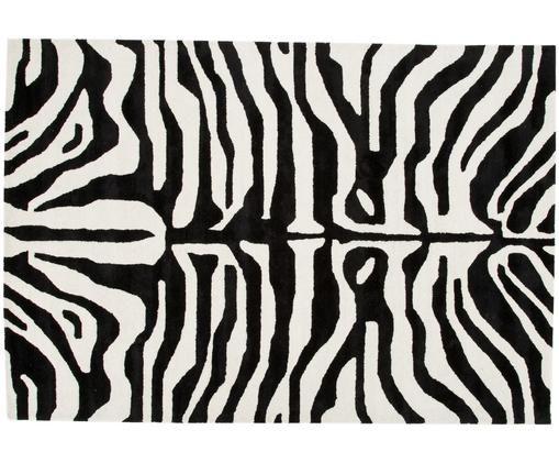 Alfombra artesanal con estampado de cebra Kapstadt, Parte superior: 75%viscosa, 25%lana, Reverso: 100%algodón, Negro, crema, An 200 x L 300 cm