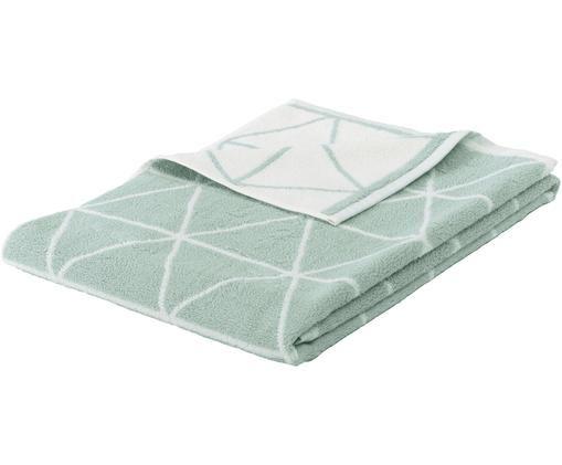 Asciugamano reversibile con motivo grafico Elina, Verde menta, bianco crema, Telo bagno