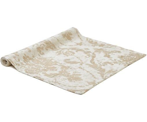 Camino de mesa de terciopelo Ruben, Terciopelo de poliéster, Crudo, beige, An 50 x L 140 cm