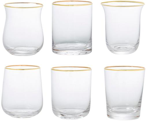 Komplet szklanek do wody ze szkła dmuchanego Golden Desigual, 6 elem., Transparentny
