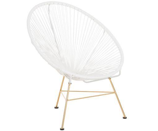 Loungesessel Grace aus Kunstgeflecht, Sitzfläche: WeißGestell: Goldfarben