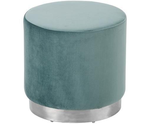 Tabouret en velours Orchid, Revêtement: bleu-vert Pied: couleur argent
