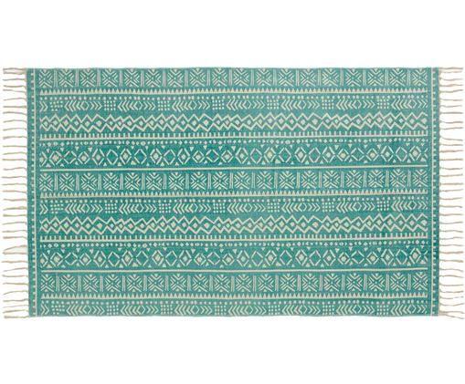 Dywan Afra, Bawełna, Turkusowy, złamana biel, S 90 x D 150 cm