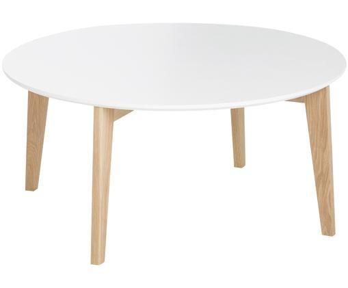 Grande table basse scandi Lucas, Blanc, chêne
