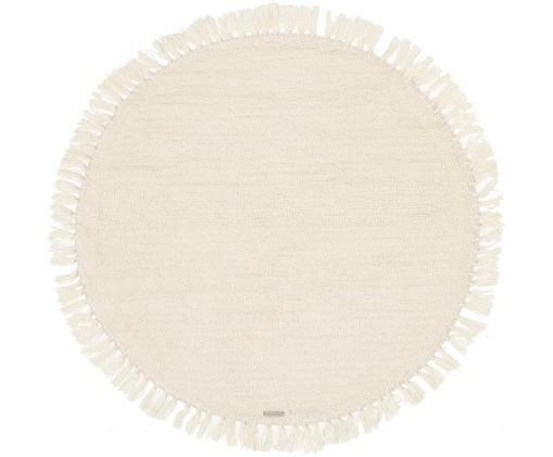 Runder Wollteppich Alma in Creme mit Fransen, Flor: Wolle, Creme, Ø 126 cm (Größe M)