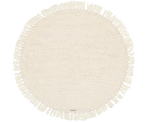 Alfombra redonda de lana Alma, Parte superior: lana, Reverso: lana, Crema, Ø 126 cm (Tamaño M)