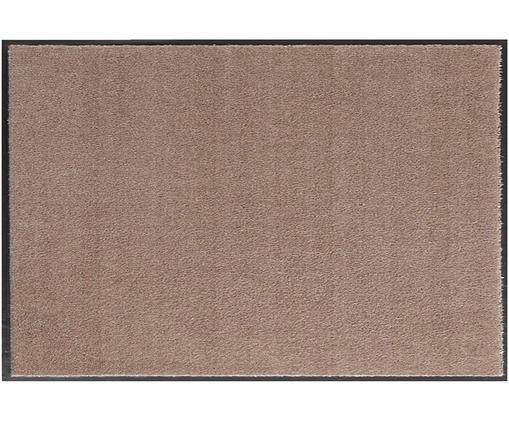 Polyamid-Fußmatte Milo, Vorderseite: Polyamid, Rückseite: Gummi, Taupe, Schwarz, 39 x 58 cm