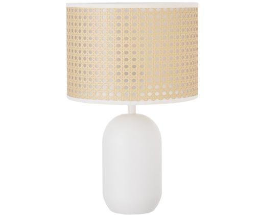 Lampada da tavolo Vienna in intreccio viennese, Paralume: beige, bianco Base della lampada: bianco opaco Cavo: bianco