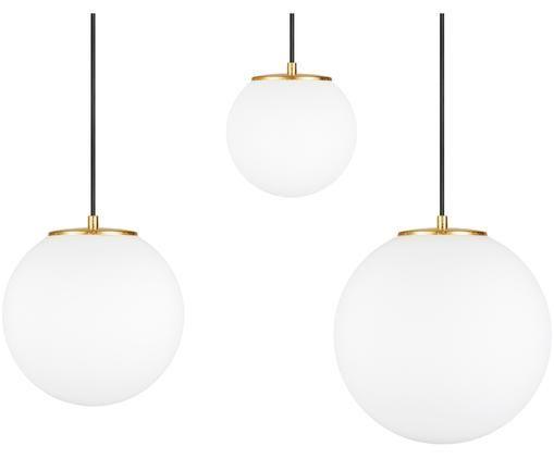 Suspension boule en verre opalescent Tsuki, Blanc opalescent, noir, couleur laitonnée