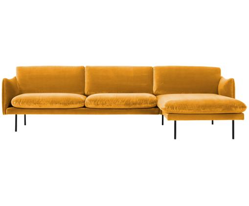 Canapé d'angle en velours Moby, Jaune moutarde