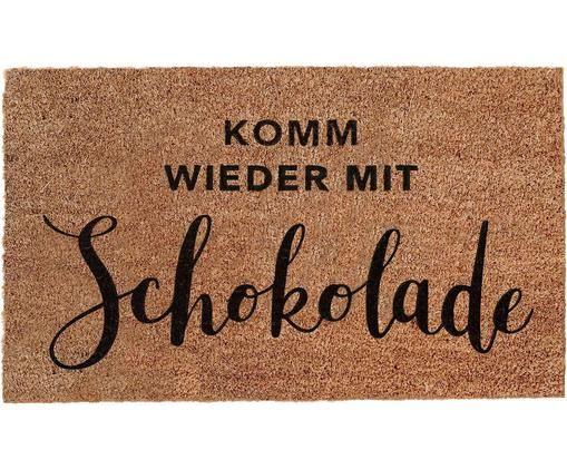 Fußmatte Schokolade mit Spruch, Unterseite: Vinyl, Braun, Schwarz, 45 x 75 cm