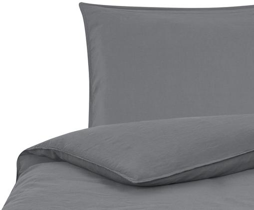 Gewaschene Leinen-Bettwäsche Carla, 52% Leinen, 48% Baumwolle Mit Stonewash-Effekt, Anthrazit, 135 x 200 cm
