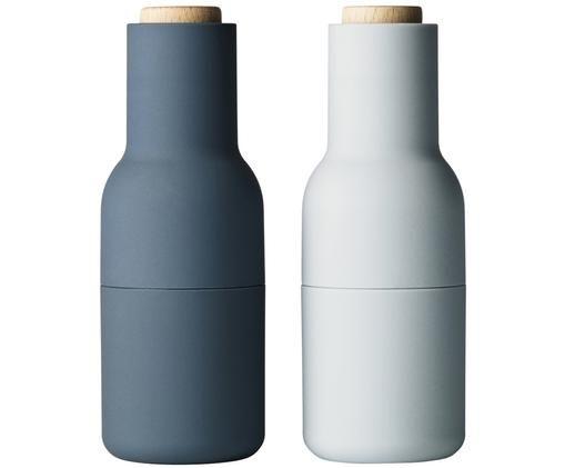 Komplet młynków do przypraw Bottle Grinder, 2elem., Korpus: tworzywo sztuczne, Niebieski, jasny niebieski, brązowy, Ø 8 x W 21 cm