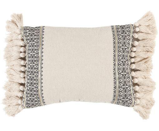 Handgemachtes Kissen Hektor mit Stickerei und Lurexfäden, mit Inlett, Cremeweiß, Grau