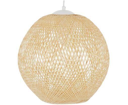 Lampada a sospensione Eve, Paralume: bambù, Paralume: bambù Baldacchino e portalampada: bianco opaco Cavo: bianco, Ø 40 x Alt. 39 cm