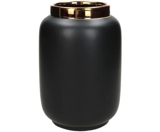 Vase Fritz aus Steingut, Steingut, Schwarz, Ø 14 x H 20 cm