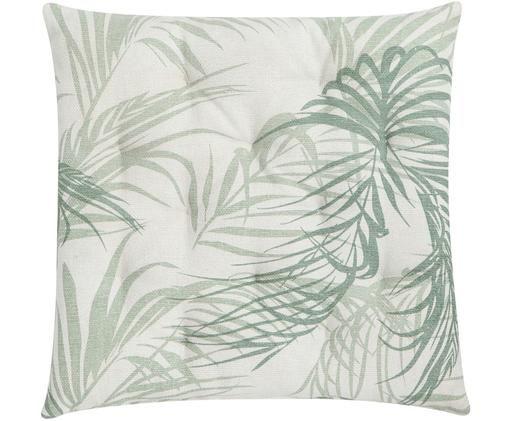 Sitzkissen Palm Leaf, Gebrochenes Weiß, Grün