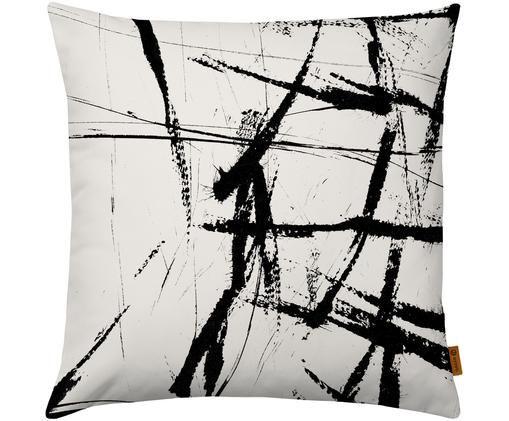 Kissenhülle Neven mit abstraktem Print in Schwarz/Weiß, Polyester, Schwarz, Weiß, 40 x 40 cm