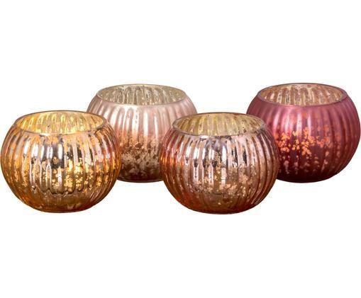 Komplet świeczników na podgrzewacz Raika, 4 elem., Szkło lakierowane, Odcienie różowego, Ø 7 x W 4 cm