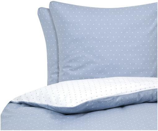 Flanell-Wendebettwäsche Betty, gepunktet, Baumwolle, Flannell, Hellblau, Weiß, 240 x 220 cm
