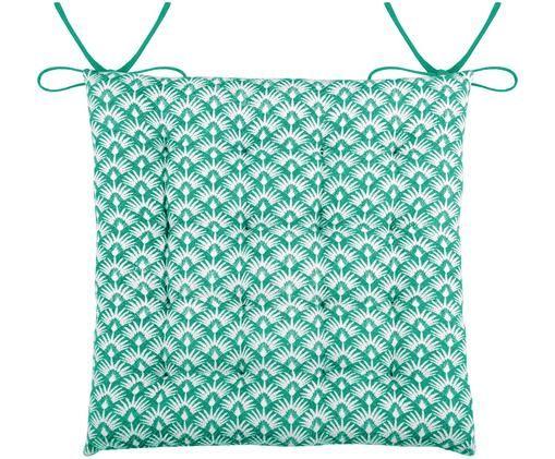 Wendesitzkissen Palma, Smaragdgrün, Weiß, 40 x 40 cm