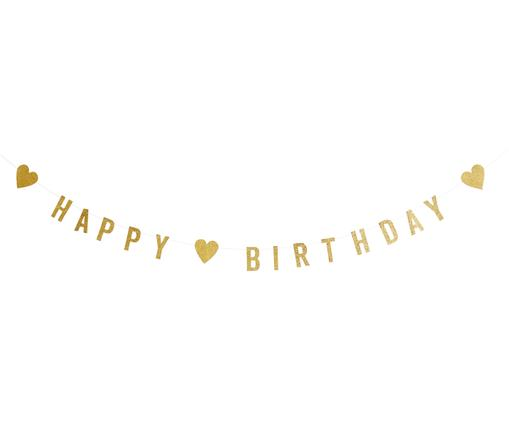 Girlande Happy Birthday, Papier, Baumwolle, Messingfarben, L 100 cm