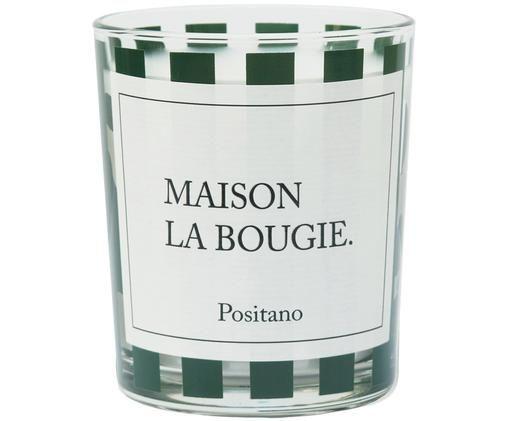 Duftkerze Positano (Moschus & Patschuli), Behälter: Glas, gefärbt, Weiß, Schwarz, Ø 8 x H 9 cm