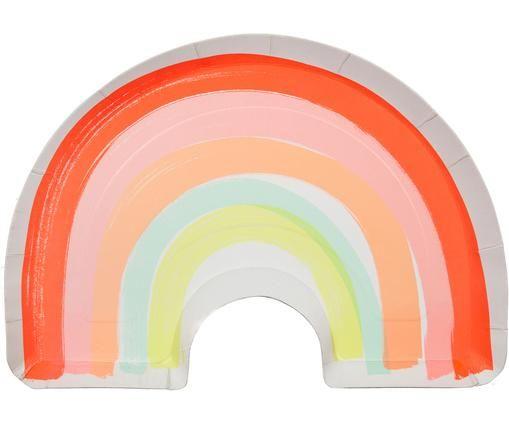 Papier-Teller Rainbow, 12 Stück