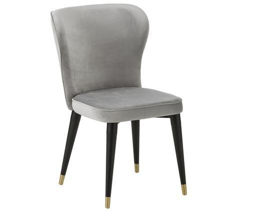 Chaise en velours rembourrée Cleo, Revêtement: gris Pieds: noir, couleur dorée