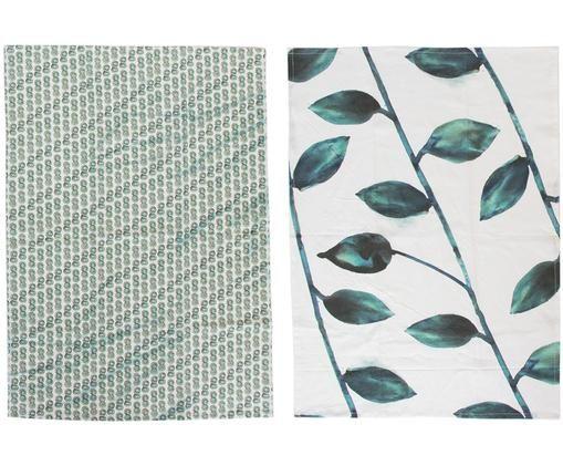 Geschirrtücher-Set Leafs, 2-tlg., Baumwolle, Weiß, Grün, 50 x 70 cm