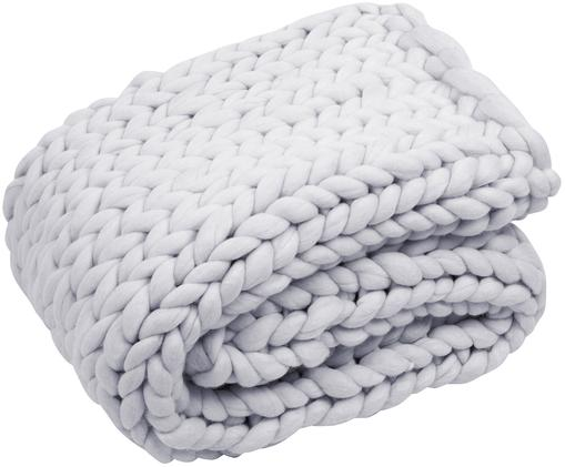 Plaid di lana merino lavorato a mano Chunky, 100% lana merino, Grigio chiaro, Larg. 120 x Lung. 150 cm