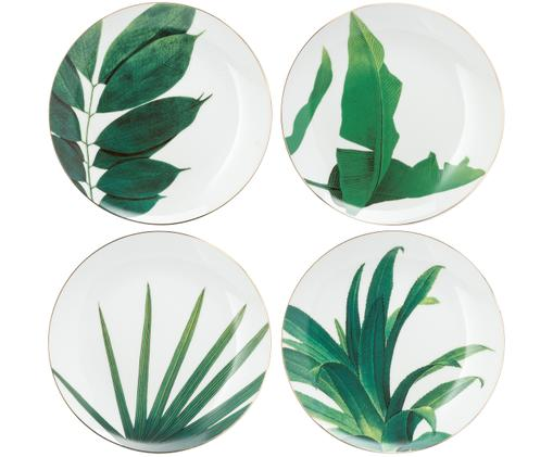 Frühstücksteller-Set Botanical, 4-tlg., Porzellan, vergoldet, Grün, Weiß, Gold, Ø 20 cm
